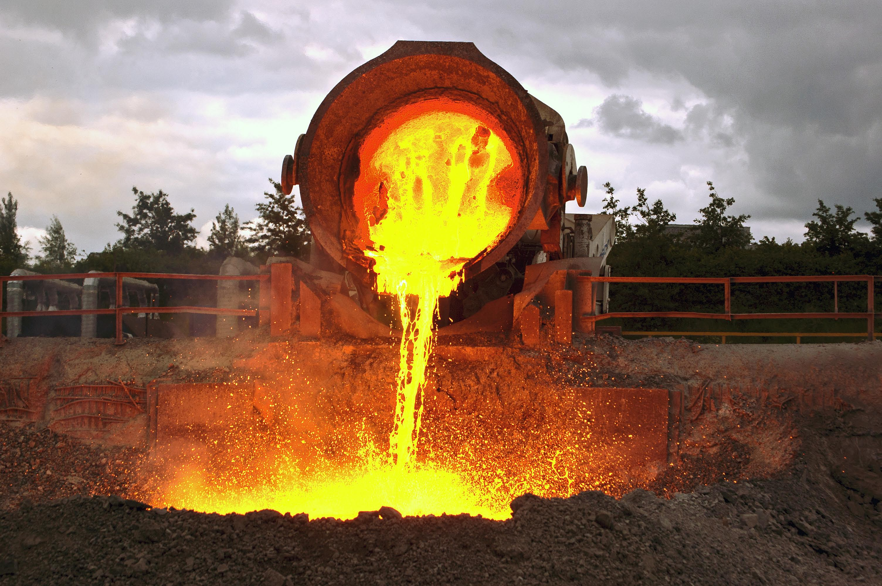 Tipping slag at Outokumpu Steelworks during Clan Line's visit