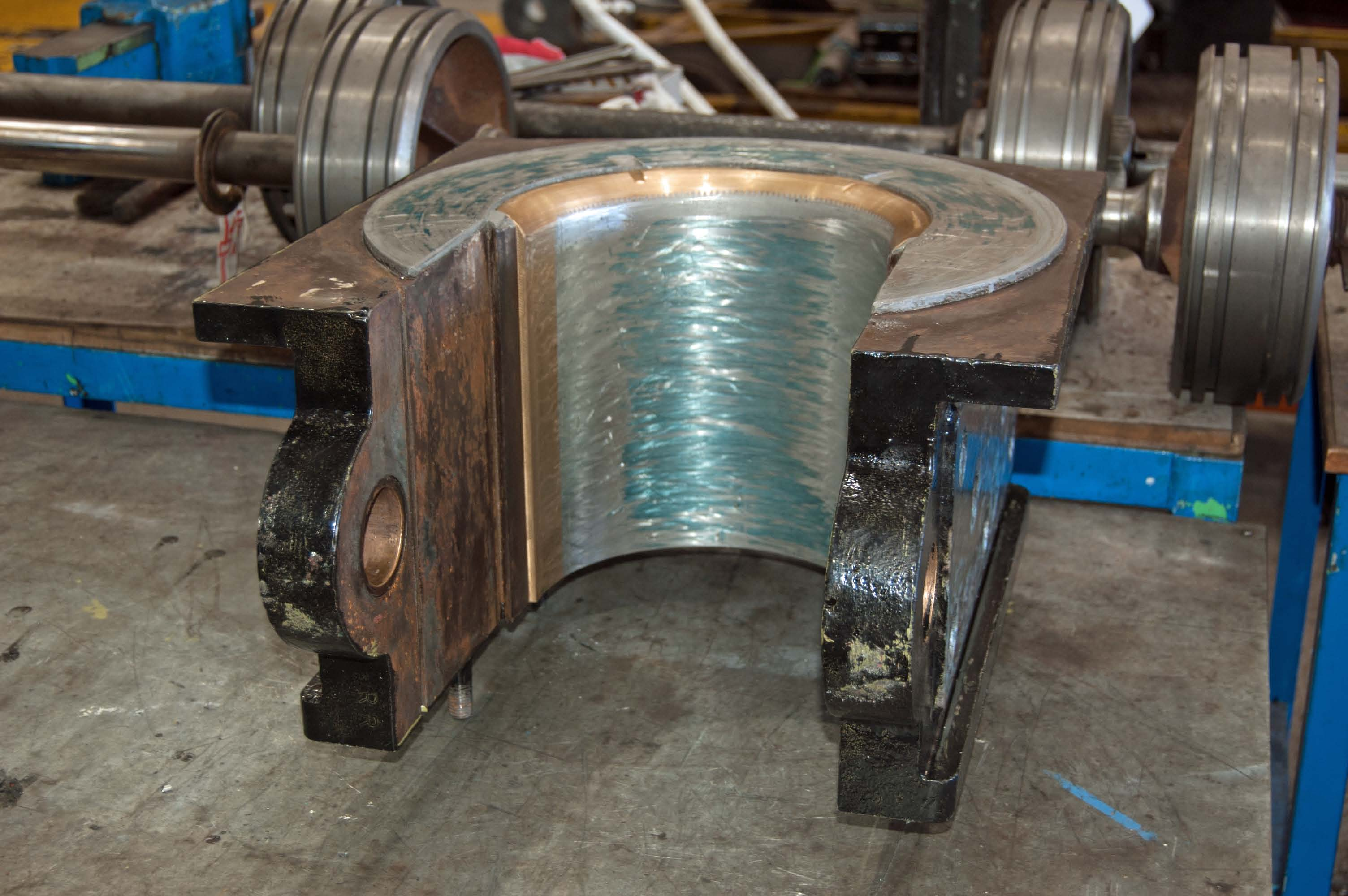 This driving wheel axle box is being worked on