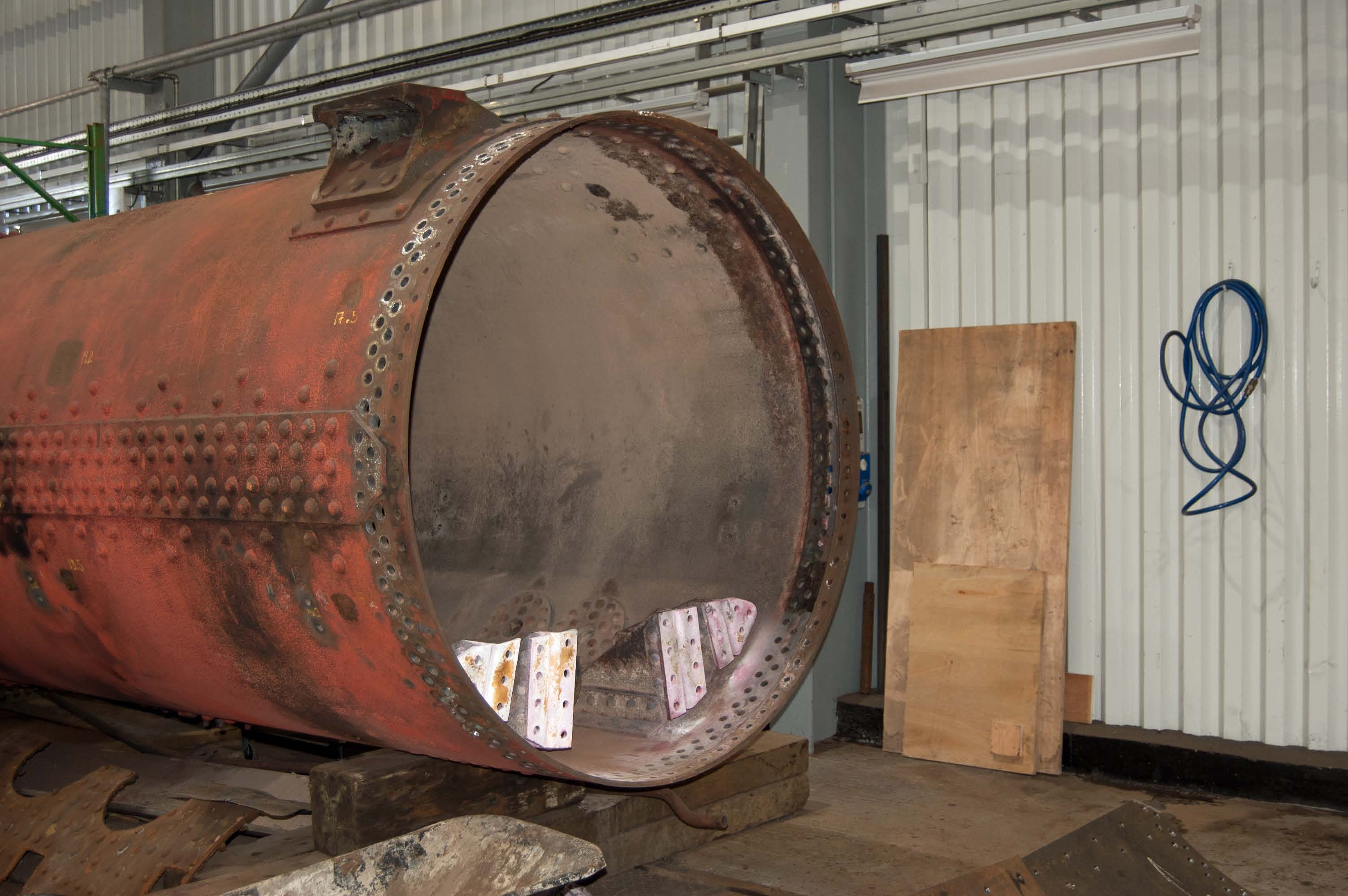 The smokebox and the old front tubeplate have been removed