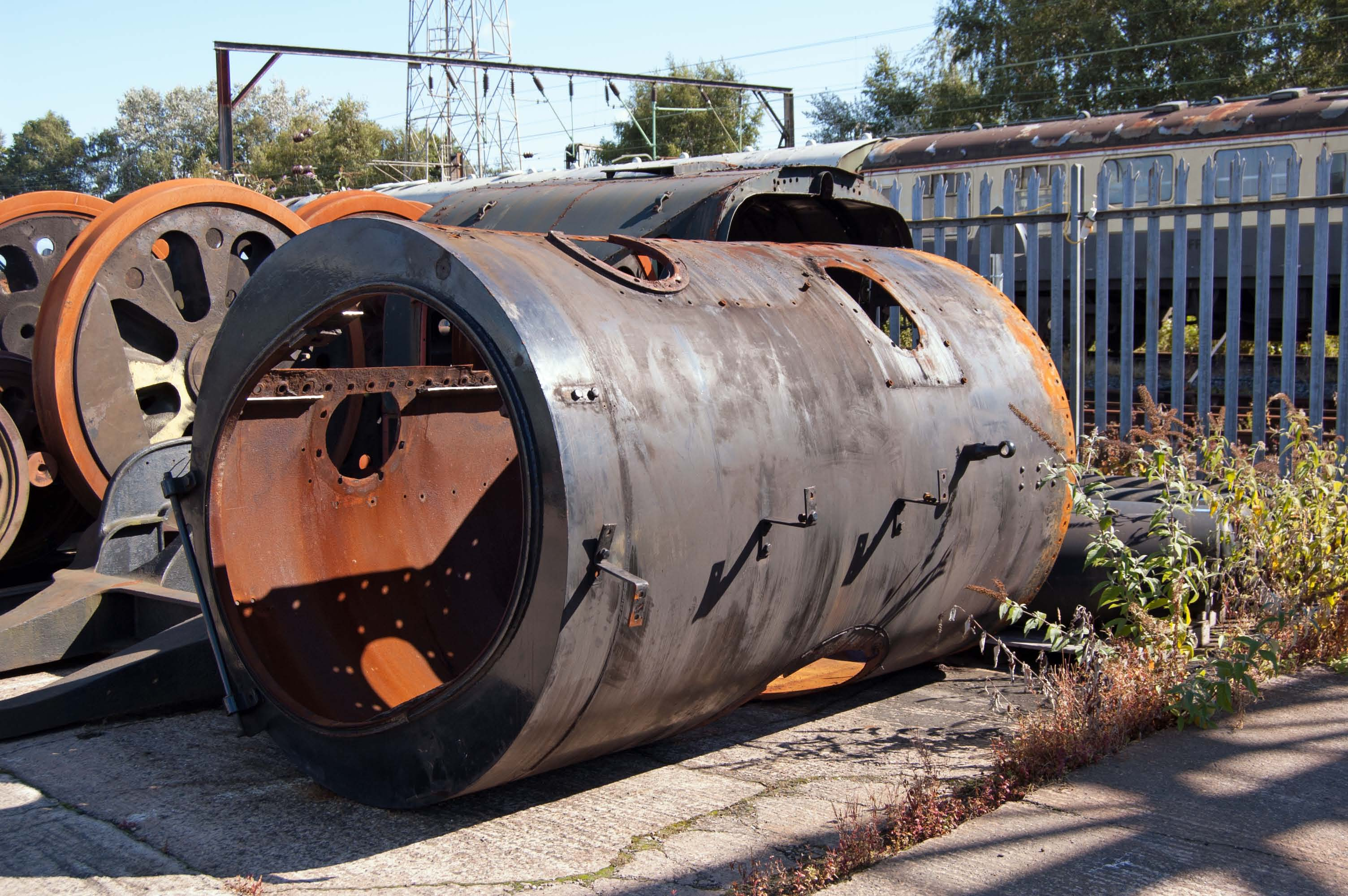 The smokebox has been removed so that the front tubeplate can be replaced