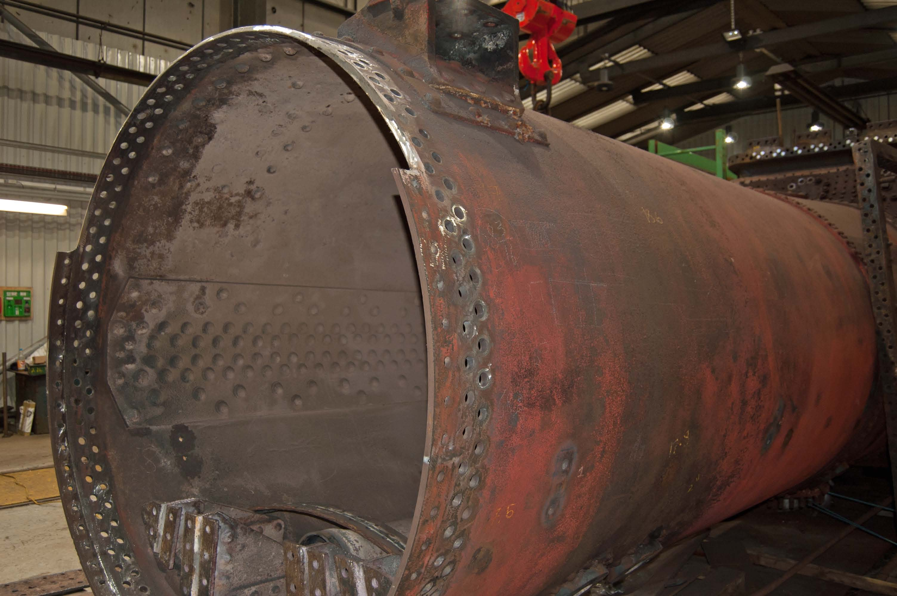 The front part of the boiler barrel, showing where some of it has been removed