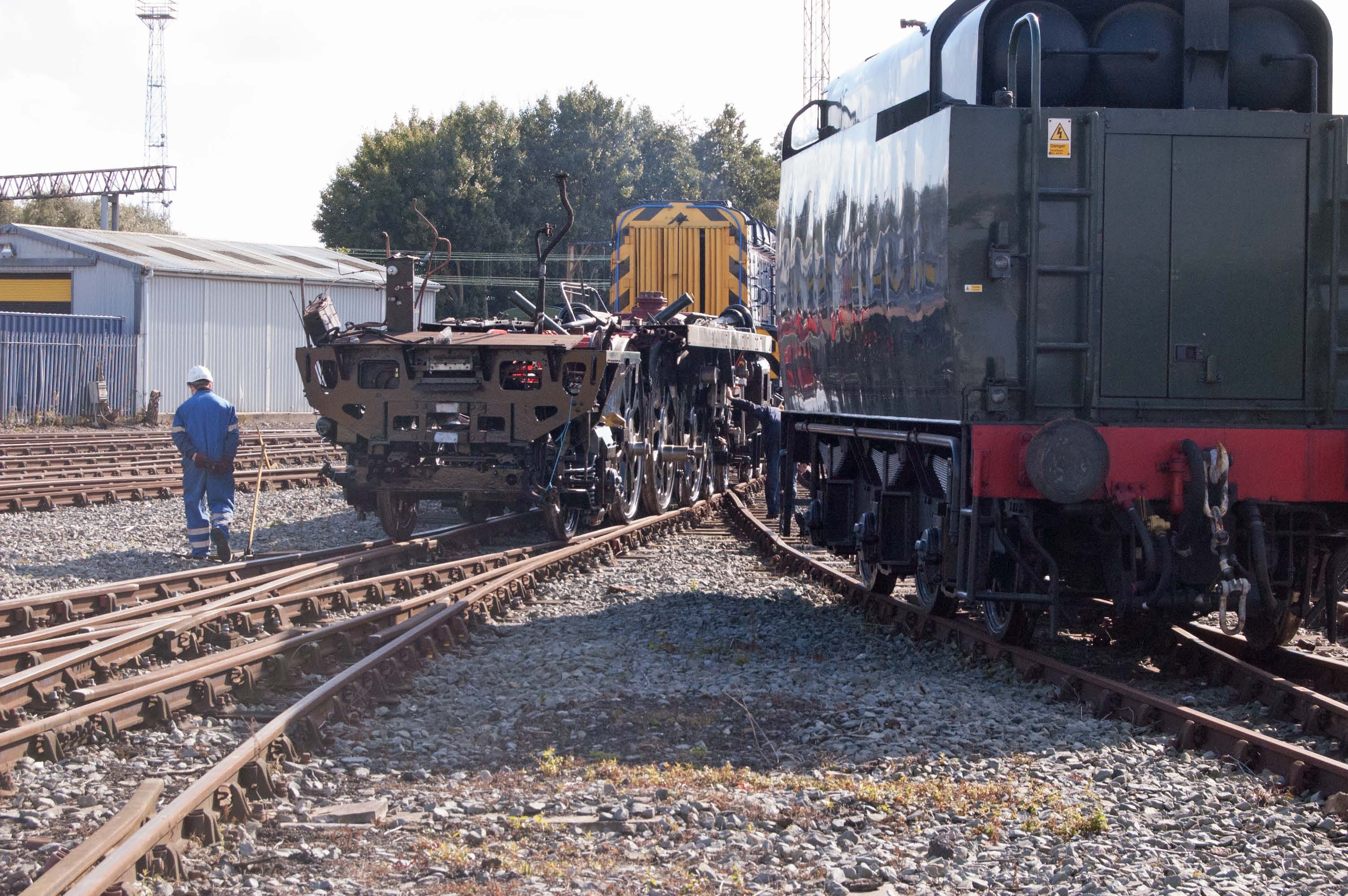 Clan Line is moved further outside to allow for some shunting