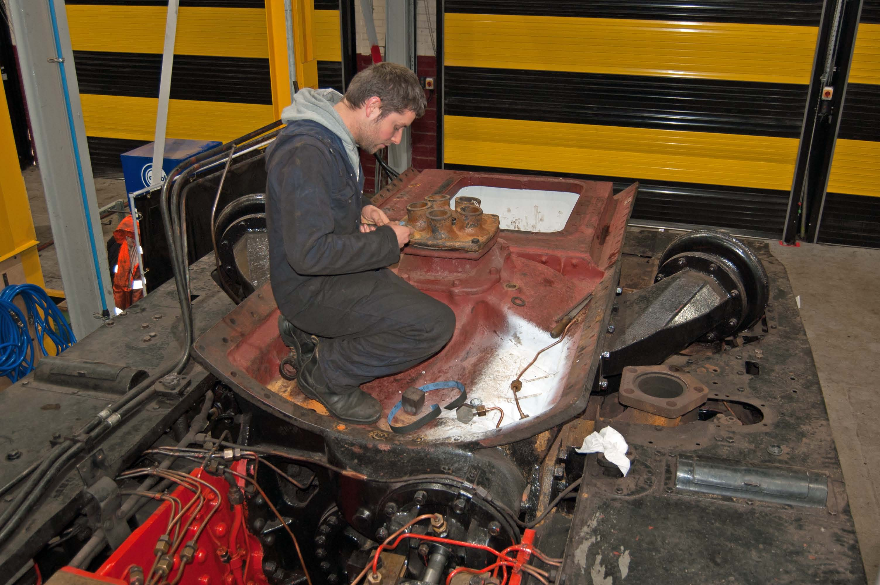 Ben is working on the lubrication for the middle engine